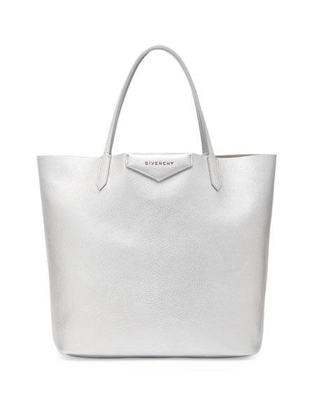 Antigona Medium Leather Shopping Tote, Silver