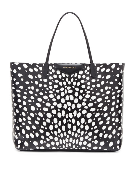 Antigona Large Leather Tote Bag, Dots Print