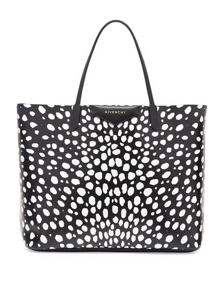 Antigona Large Leather Tote Bag, Dots Print
