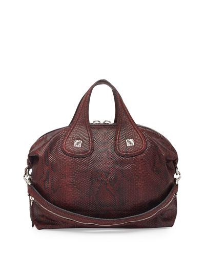 Givenchy Nightingale Medium Python Satchel Bag, Bordeaux