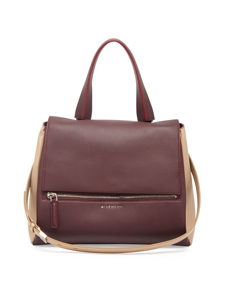 Pandora Pure Medium Leather Satchel Bag, Bordeaux/Tan