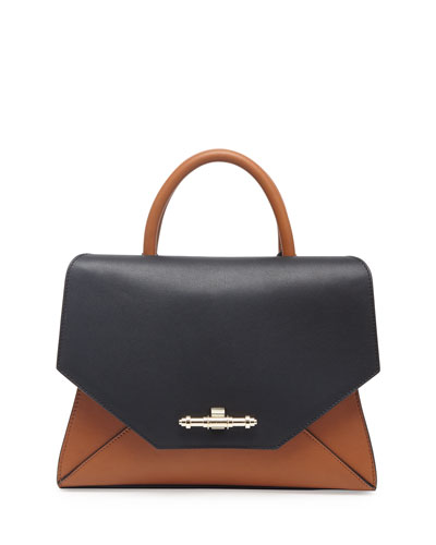 Givenchy Obsedia Top-Handle Small Leather Satchel Bag, Black/Brown