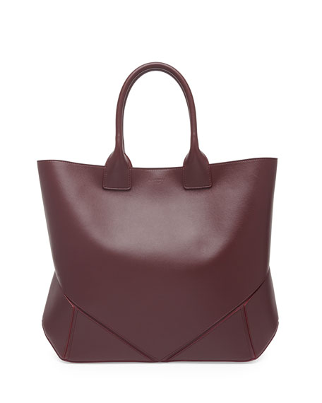 Easy Medium Leather Tote Bag, Oxblood