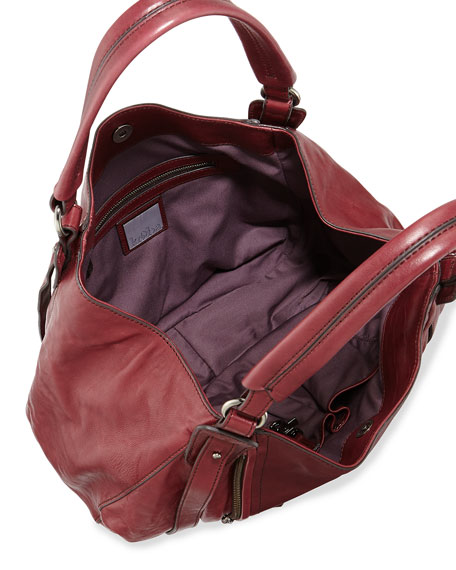 Jonnie Leather Hobo Bag, Dark Red