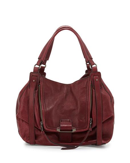Jonnie Leather Hobo Bag, Dark Red