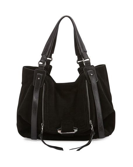 Jonnie Leather Hobo Bag, Black