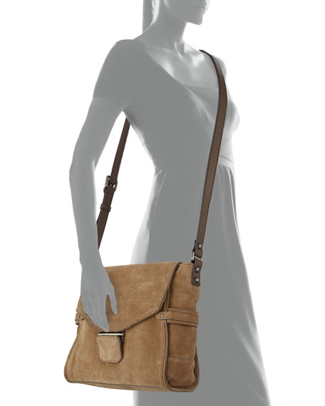Taylor Suede Crossbody Bag, Taupe