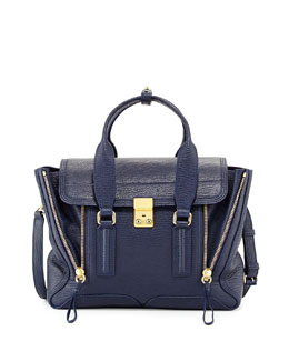 3.1 Phillip Lim Pashli Medium Zip Satchel Bag, Ink