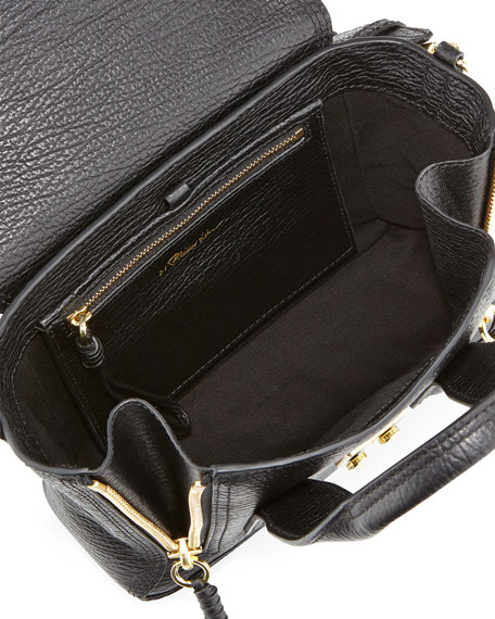 Pashli Mini Zip Satchel Bag, Black