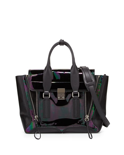 3.1 Phillip Lim Pashli Medium Iridescent Zip Satchel Bag, Black