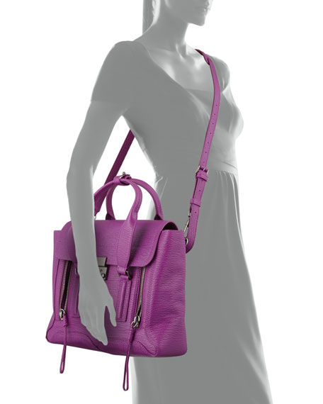Pashli Medium Leather Satchel Bag, Orchid