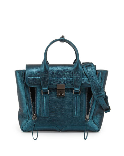 3.1 Phillip Lim Pashli Medium Metallic Satchel Bag, Turquoise