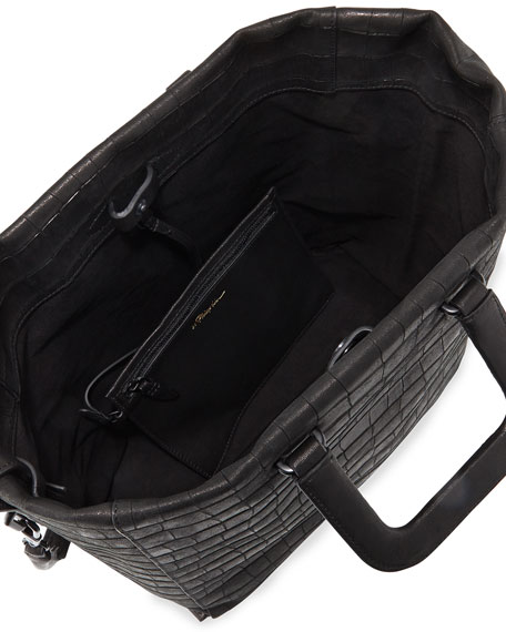 Wednesday Croc-Embossed Tote Bag, Black