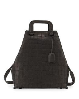 3.1 Phillip Lim Wednesday Croc-Embossed Tote Bag, Black