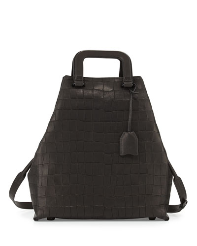 3.1 Phillip Lim Wednesday Croc-Embossed Tote Bag, Black