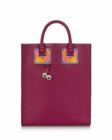 Mini Leather Tote Bag, Raspberry