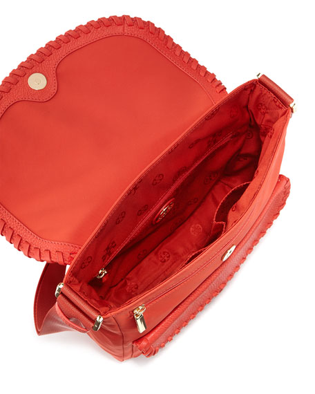 Marion Nylon Whipstitch Messenger Bag, Red