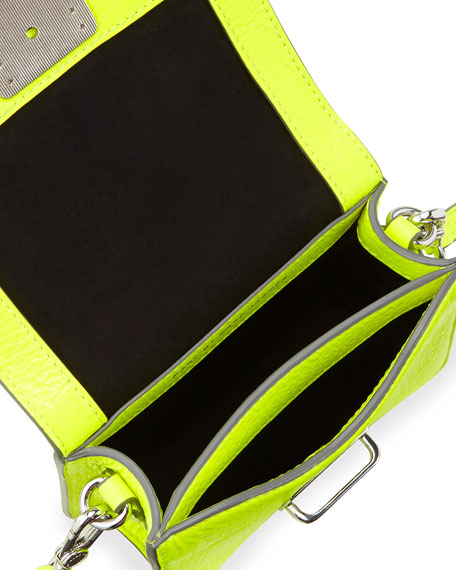 Top Schooly Leather Jax Crossbody Bag, Safety Yellow