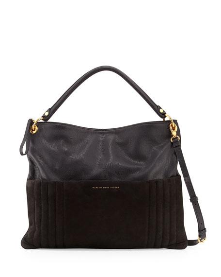 Tread Lightly Leather Hobo Bag, Black
