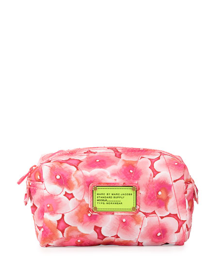 Pretty Nylon Aki Floral Small Cosmetic Case, Knockout Pink
