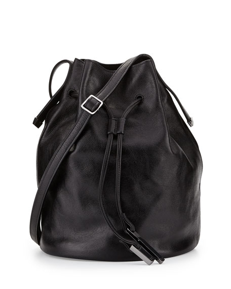 Halston Heritage City Casual Leather Bucket Bag, Black