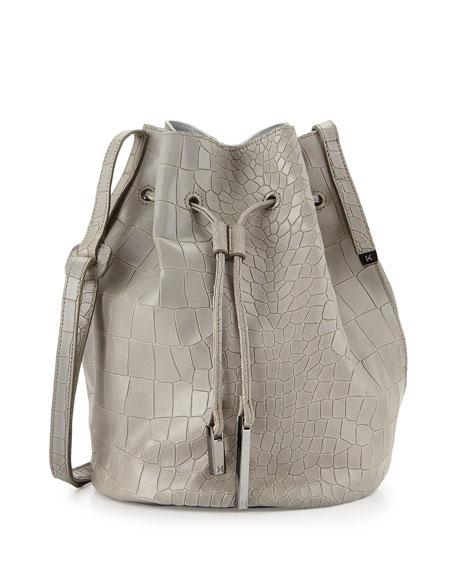 Halston Heritage City Casual Croc-Embossed Bucket Bag, Heather Gray