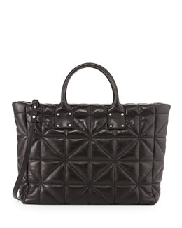 Milly Avery Quilted Lambskin Tote Bag, Black