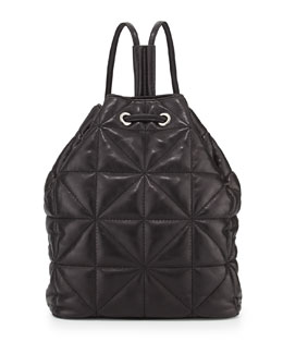 Milly Avery Quilted Lambskin Backpack, Black