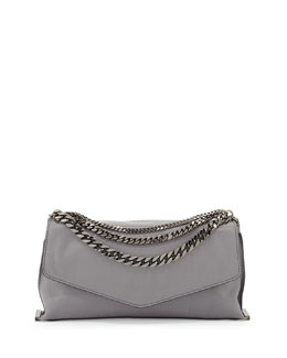 Milly Collins Chain Leather Clutch Bag, Charcoal