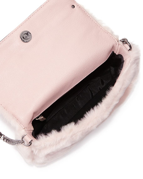 Skylar Faux-Fur Mini Crossbody Bag, Blush
