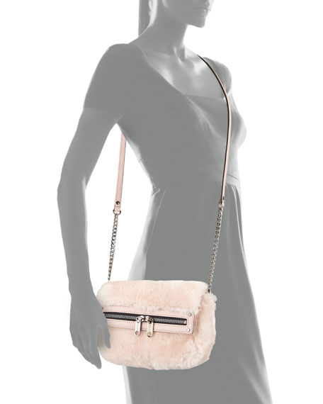 Milly Skylar Faux-Fur Mini Crossbody Bag, Blush