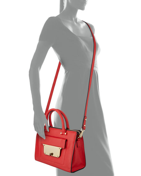Isabella Small Pebbled Tote Bag, Red