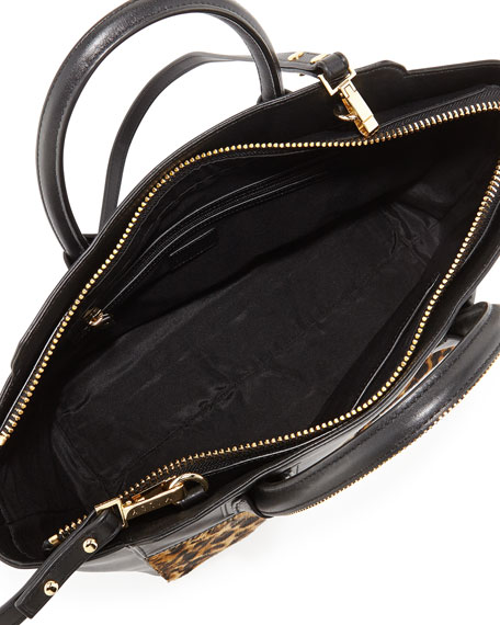 Logan Leopard-Print Calf Hair Tote Bag, Black