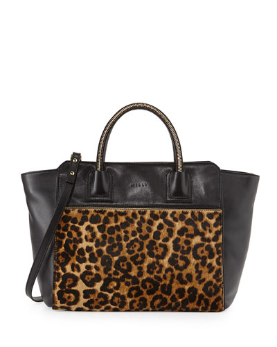 milly logan leopard print calf hair tote bag black