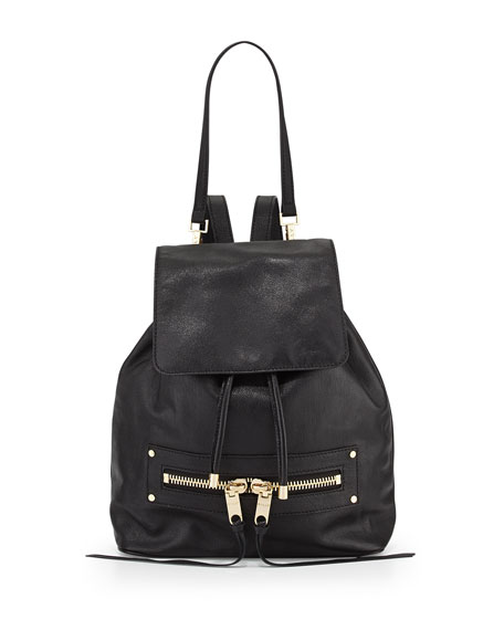 Riley Goatskin Leather Backpack, Black