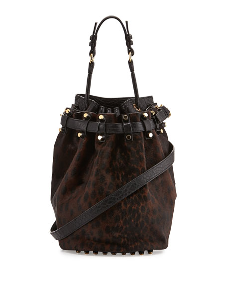 Diego Spotted Calf Hair Bucket Bag, Leopard Haze