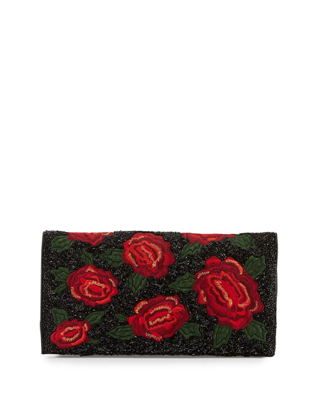 Me Beaded Rose Clutch Bag, Red/Multi