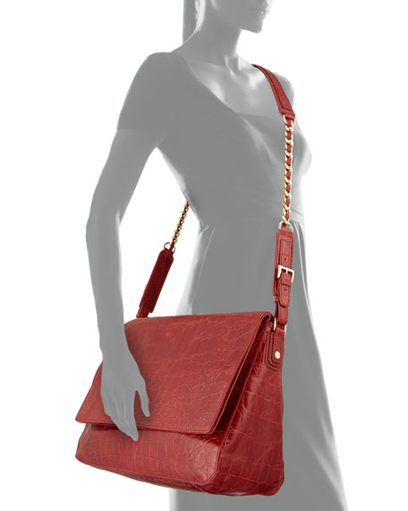 Scarlet Embossed Crossbody Bag, Cherry