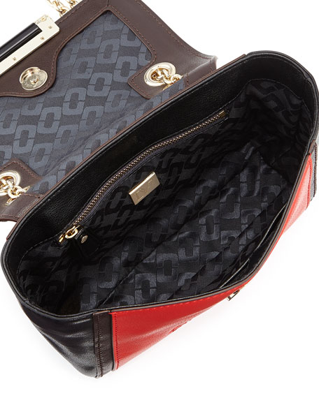440 Mini Mixed-Media Crossbody Bag, Leopard/Paprika