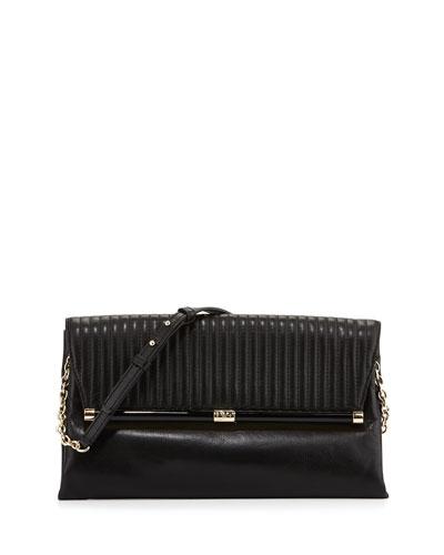 440 Large Envelope Rail Clutch Bag, Black