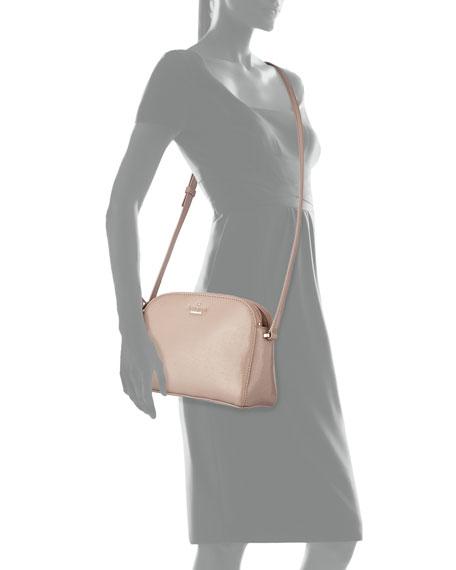 cedar street double-zip patent crossbody bag, rosewater