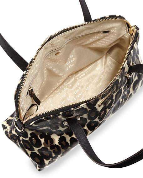 Cedar Street Maise Leopard Print Satchel Bag Deco Beige