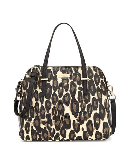 kate spade new york cedar street maise leopard-print satchel bag, deco beige