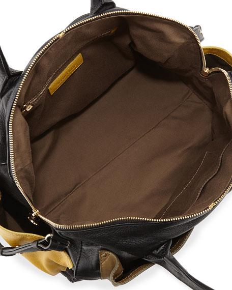 Nellie Colorblock Zip Satchel Bag, Black/Military