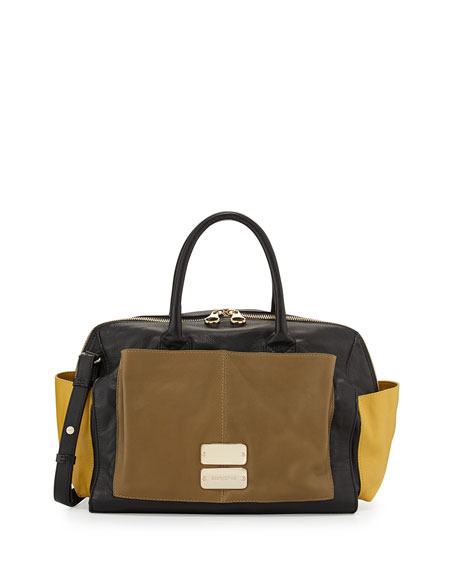 Nellie Colorblock Zip Satchel Bag, Black/Military