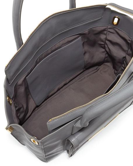 Jo Medium Leather Tote Bag, Smoke