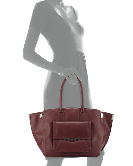Jo Leather Tote Bag, Burgundy