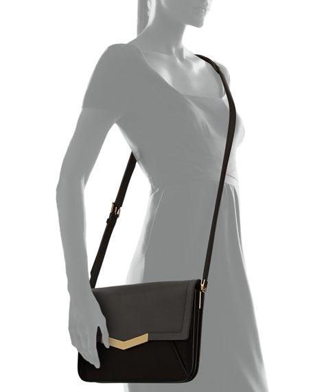 Affine Small Leather Shoulder Bag, Smoke Multi