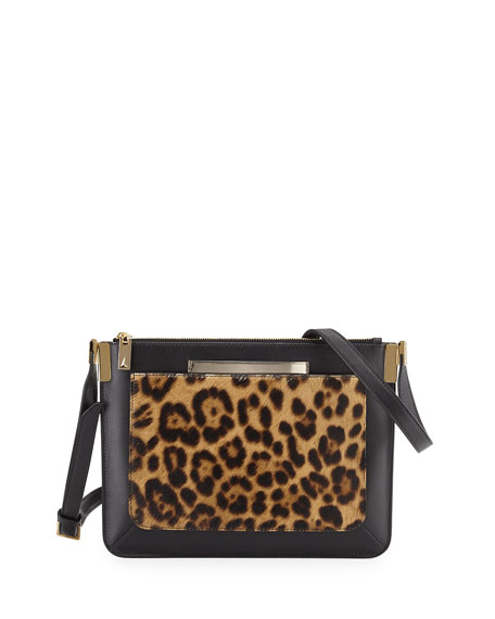 Ishi Small Calf Hair Shoulder Bag, Leopard