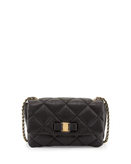Salvatore Ferragamo Gelly Quilted Leather Shoulder Bag, Black